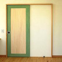 室内引き戸造作:ペパーミントグリーン色