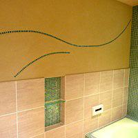 浴室モザイクタイルのニッチ