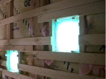 室内側ガラスブロック(アクアマリン色)