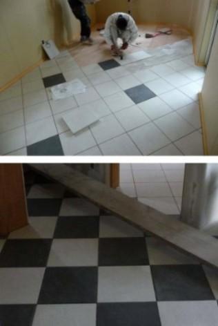 1階床タイル貼り